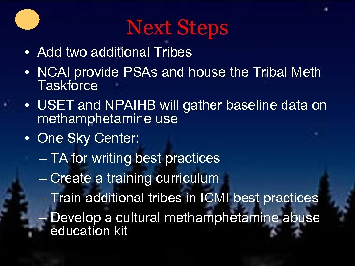 Next Steps • Add two additional Tribes • NCAI provide PSAs and house the