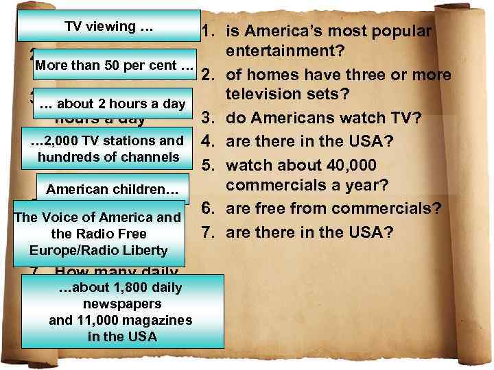 TV viewing … 1. What 2. How many per More than 50 per cent