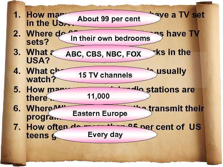 1. How many per cent of homes have a TV set About 99 per