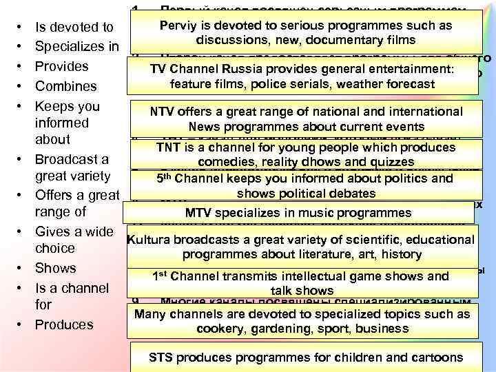 1. • • • Первый канал посвящен серьезным программам, Perviy как дискуссии, новости, документальные