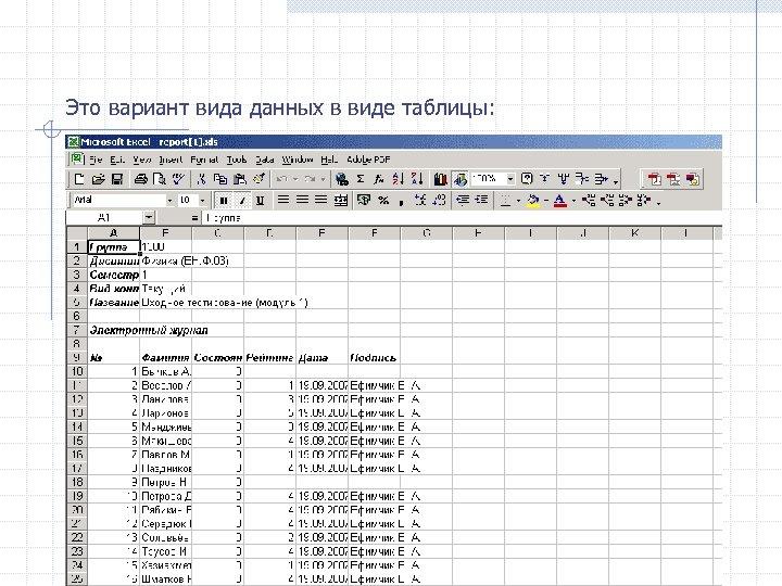 Это вариант вида данных в виде таблицы: