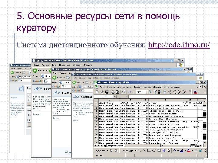 5. Основные ресурсы сети в помощь куратору Система дистанционного обучения: http: //cde. ifmo. ru/