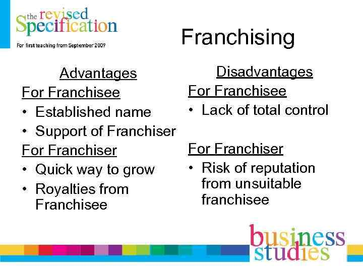 Franchising Advantages For Franchisee • Established name • Support of Franchiser For Franchiser •