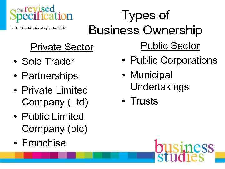 Types of Business Ownership • • • Private Sector Sole Trader Partnerships Private Limited