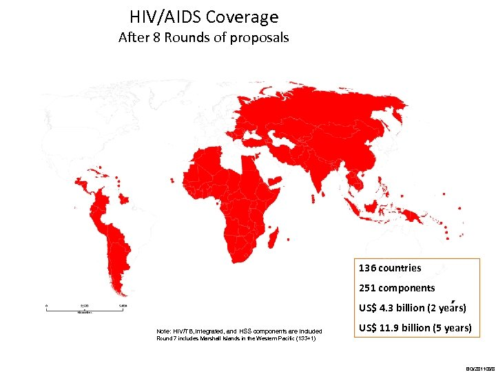 HIV/AIDS Coverage After 8 Rounds of proposals 136 countries 251 components US$ 4. 3