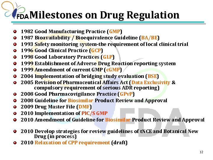Milestones on Drug Regulation 1982 Good Manufacturing Practice (GMP) 1987 Bioavailability / Bioequivalence Guideline