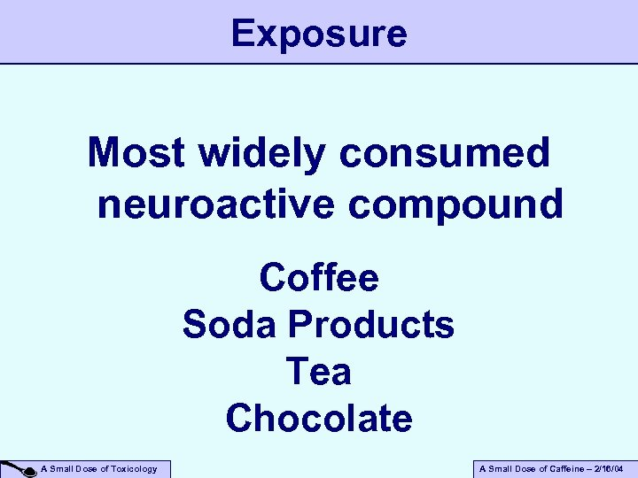 Exposure Most widely consumed neuroactive compound Coffee Soda Products Tea Chocolate A Small Dose