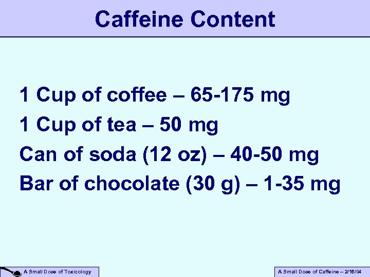 Caffeine Content 1 Cup of coffee – 65 -175 mg 1 Cup of tea