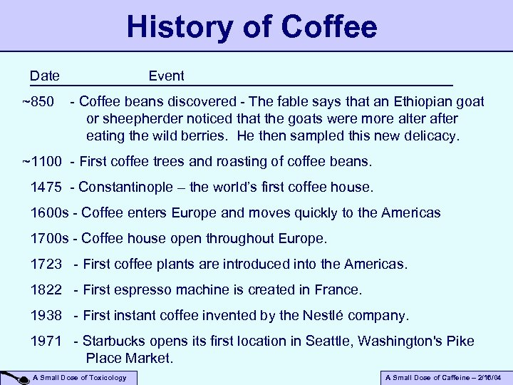 History of Coffee Date ~850 Event - Coffee beans discovered - The fable says