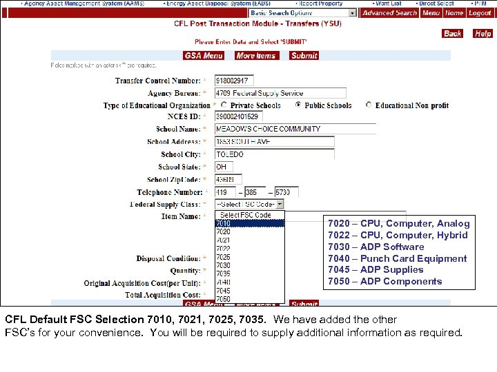 7020 – CPU, Computer, Analog 7022 – CPU, Computer, Hybrid 7030 – ADP Software
