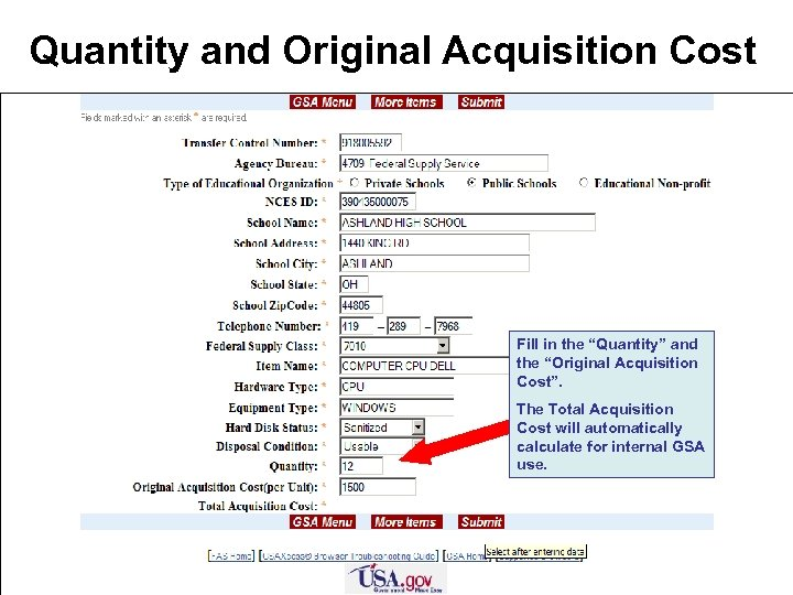 "Quantity and Original Acquisition Cost Fill in the ""Quantity"" and the ""Original Acquisition Cost""."