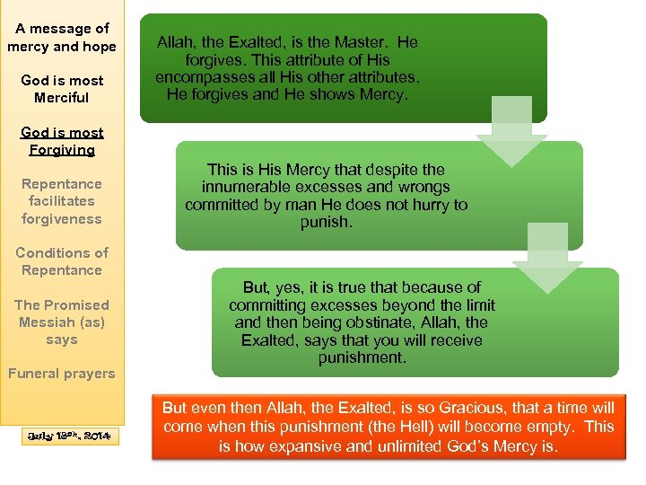 A message of mercy and hope God is most Merciful Allah, the Exalted, is