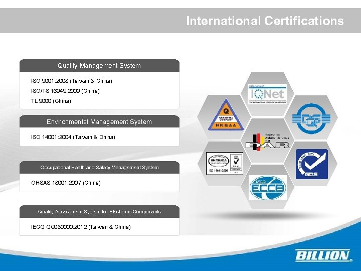 International Certifications Quality Management System ISO 9001: 2008 (Taiwan & China) ISO/TS 16949: 2009