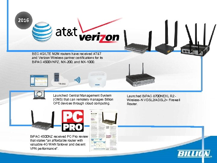 2016 BEC 4 G/LTE M 2 M routers have received AT&T and Verizon Wireless