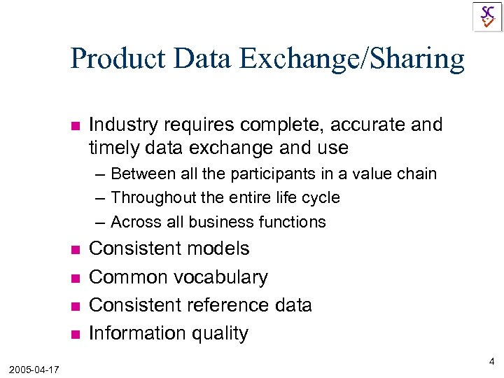 Product Data Exchange/Sharing n Industry requires complete, accurate and timely data exchange and use