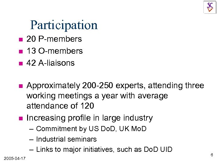 Participation n n 20 P-members 13 O-members 42 A-liaisons Approximately 200 -250 experts, attending