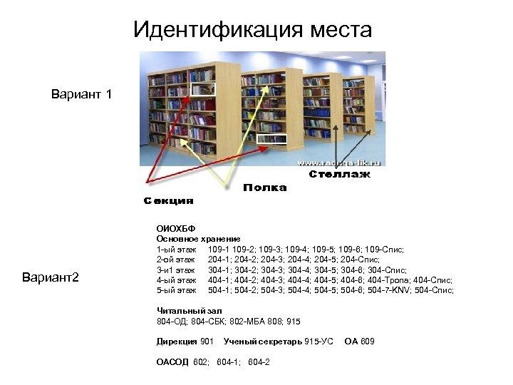 Идентификация места Вариант 1 Вариант2 ОИОХБФ Основное хранение 1 -ый этаж 109 -1 109