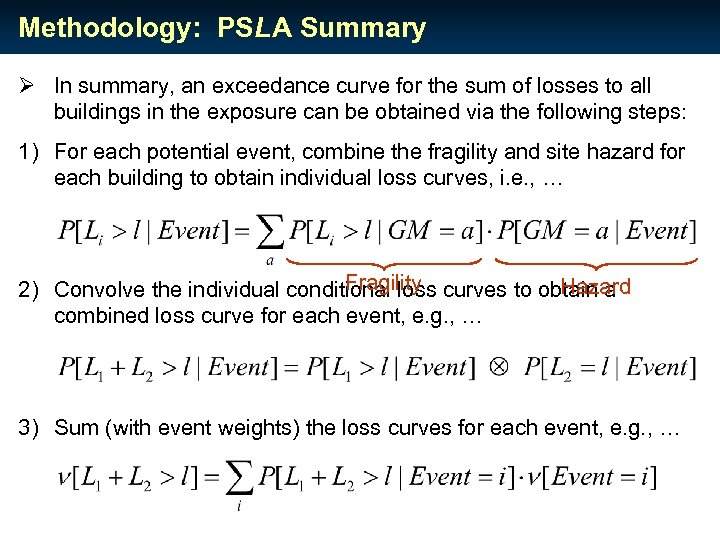 Methodology: PSLA Summary Ø In summary, an exceedance curve for the sum of losses
