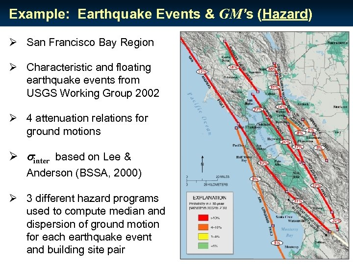 Example: Earthquake Events & GM's (Hazard) Ø San Francisco Bay Region Ø Characteristic and