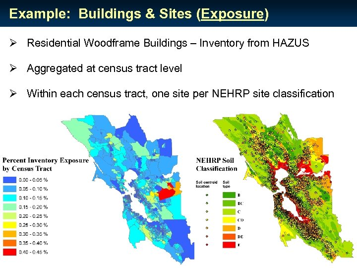 Example: Buildings & Sites (Exposure) Ø Residential Woodframe Buildings – Inventory from HAZUS Ø