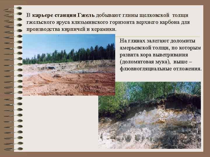 В карьере станции Гжель добывают глины щелковской толщи гжельского яруса клязьминского горизонта верхнего карбона