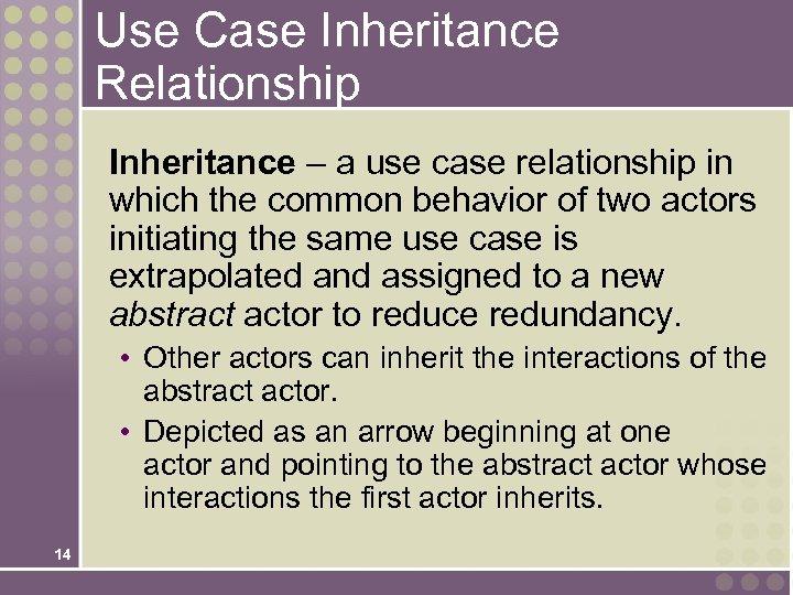 Use Case Inheritance Relationship Inheritance – a use case relationship in which the common