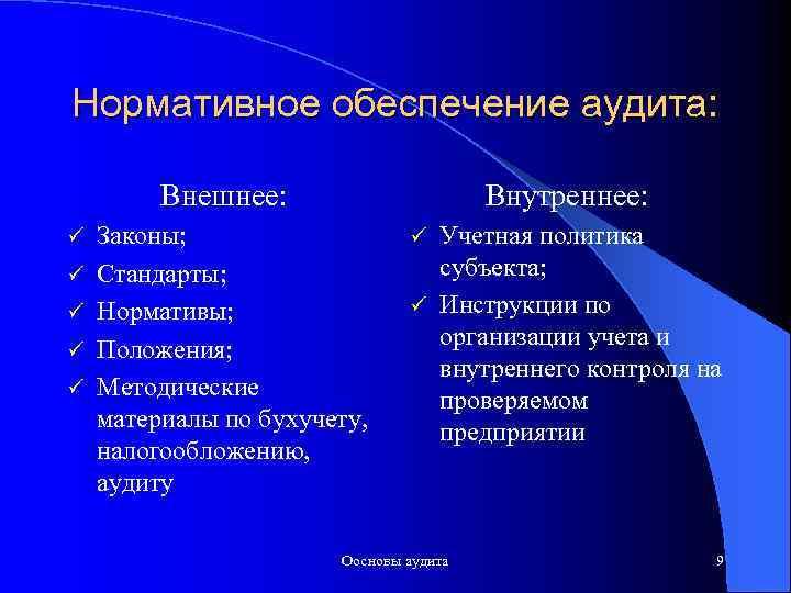 Нормативное обеспечение аудита: Внешнее: ü ü ü Внутреннее: Законы; Стандарты; Нормативы; Положения; Методические материалы
