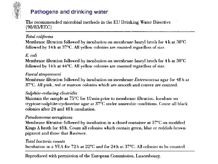 Pathogens and drinking water