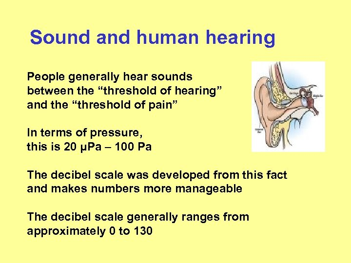 """Sound and human hearing People generally hear sounds between the """"threshold of hearing"""" and"""
