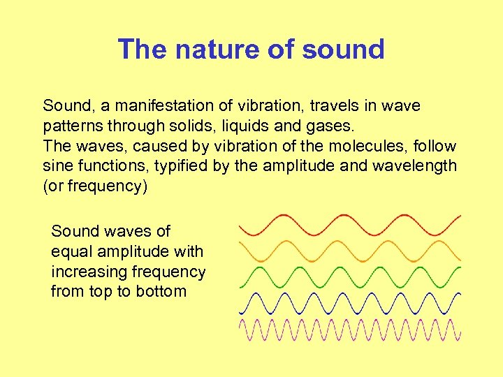 The nature of sound Sound, a manifestation of vibration, travels in wave patterns through