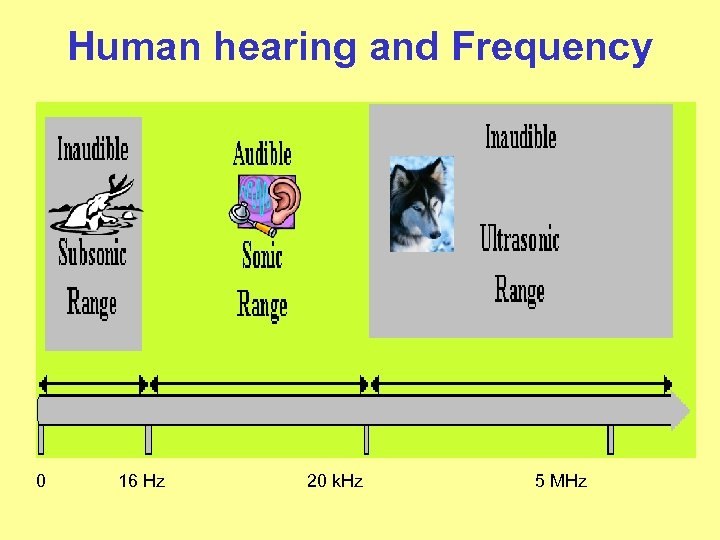 Human hearing and Frequency 0 16 Hz 20 k. Hz 5 MHz