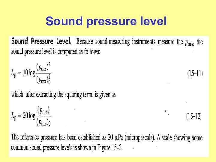 Sound pressure level
