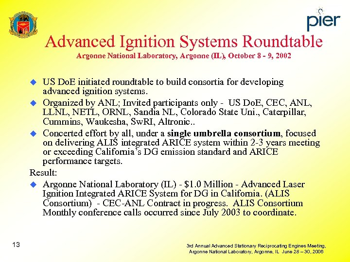 Advanced Ignition Systems Roundtable Argonne National Laboratory, Argonne (IL), October 8 - 9, 2002