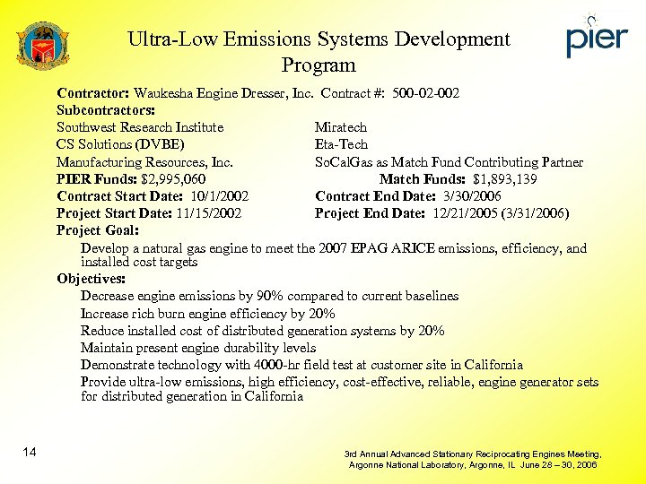Ultra-Low Emissions Systems Development Program Contractor: Waukesha Engine Dresser, Inc. Contract #: 500 -02