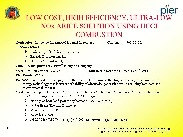 LOW COST, HIGH EFFICIENCY, ULTRA-LOW NOx ARICE SOLUTION USING HCCI COMBUSTION Contractor: Lawrence Livermore