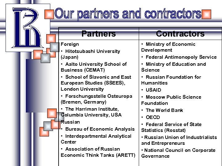 Partners Contractors Foreign • Hitotsubashi University (Japan) • Aalto University School of Business (CEMAT)