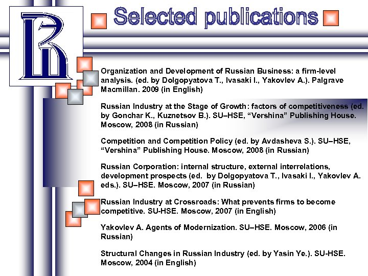 Organization and Development of Russian Business: a firm-level analysis. (ed. by Dolgopyatova T. ,