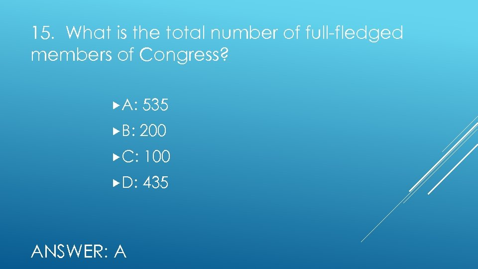15. What is the total number of full-fledged members of Congress? A: 535 B: