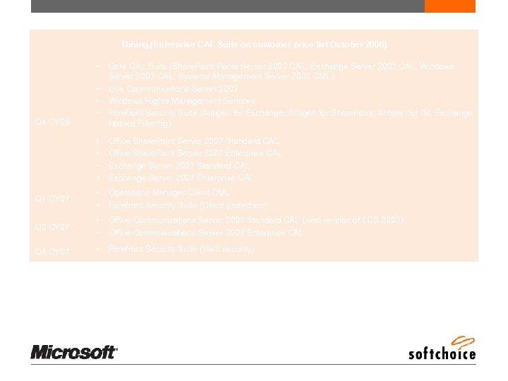 Enterprise CAL Release Schedule Timing (Enterprise CAL Suite on customer price list October 2006)