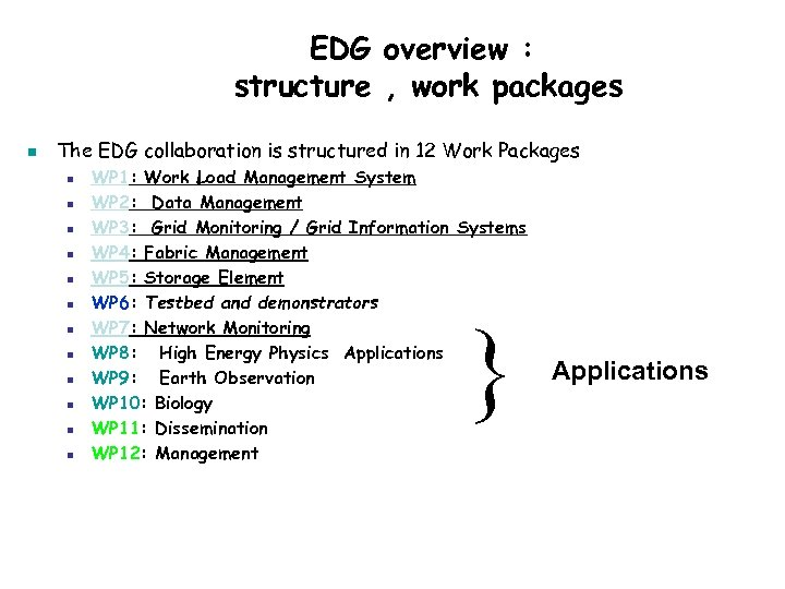 EDG overview : structure , work packages n The EDG collaboration is structured in