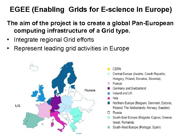 EGEE (Enabling Grids for E-science in Europe) The aim of the project is to