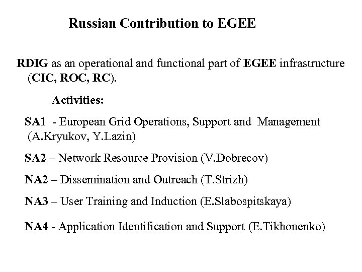 Russian Contribution to EGEE RDIG as an operational and functional part of EGEE infrastructure