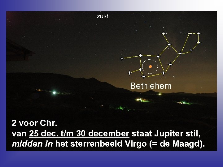 zuid Bethlehem 2 voor Chr. van 25 dec. t/m 30 december staat Jupiter