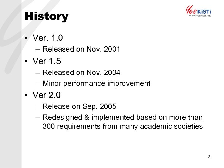 History • Ver. 1. 0 – Released on Nov. 2001 • Ver 1. 5
