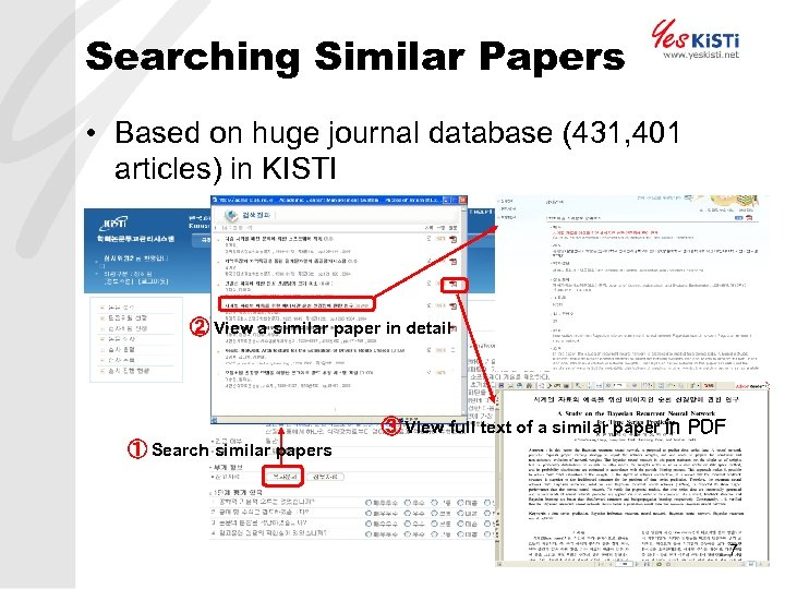 Searching Similar Papers • Based on huge journal database (431, 401 articles) in KISTI