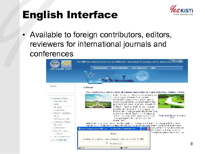 English Interface • Available to foreign contributors, editors, reviewers for international journals and conferences