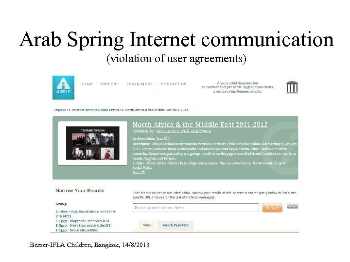 Arab Spring Internet communication (violation of user agreements) Besser-IFLA Children, Bangkok, 14/8/2013