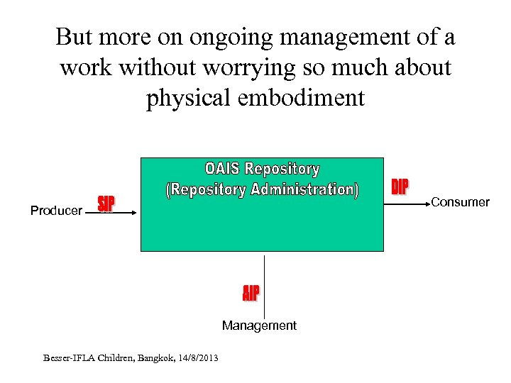 But more on ongoing management of a work without worrying so much about physical