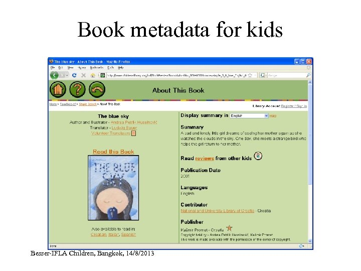 Book metadata for kids Besser-IFLA Children, Bangkok, 14/8/2013