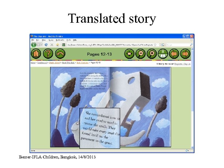 Translated story Besser-IFLA Children, Bangkok, 14/8/2013
